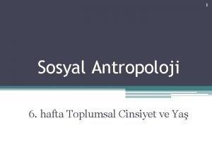 1 Sosyal Antropoloji 6 hafta Toplumsal Cinsiyet ve