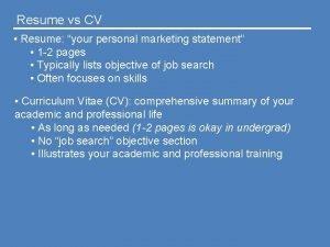 Resume vs CV Resume your personal marketing statement