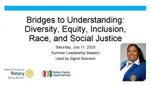Bridges to Understanding Diversity Equity Inclusion Race and