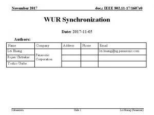 November 2017 doc IEEE 802 11 171607 r