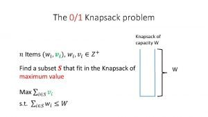 The 01 Knapsack problem Knapsack of capacity W