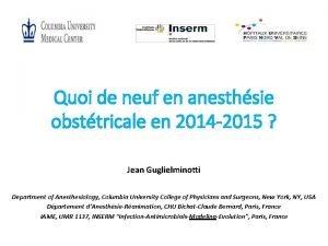 Quoi de neuf en anesthsie obsttricale en 2014
