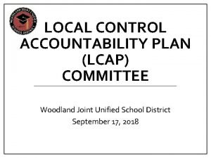 LOCAL CONTROL ACCOUNTABILITY PLAN LCAP COMMITTEE Woodland Joint