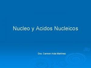 Nucleo y Acidos Nucleicos Dra Carmen Ada Martnez