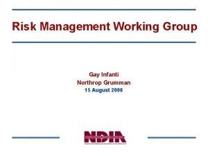 Risk Management Working Group Gay Infanti Northrop Grumman