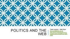POLITICS AND THE WEB Taster session Matt Ryan
