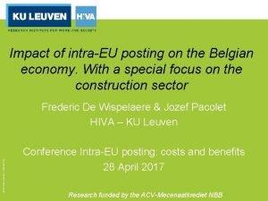 Impact of intraEU posting on the Belgian economy