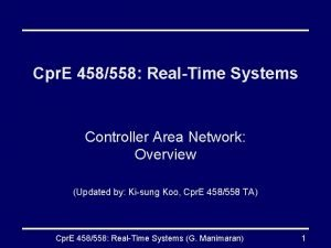 Cpr E 458558 RealTime Systems Controller Area Network