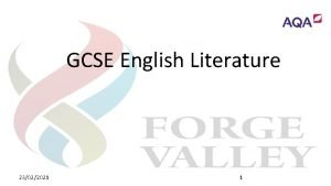 GCSE English Literature 23022021 1 GCSE English Literature