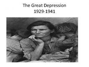The Great Depression 1929 1941 The Stock Market