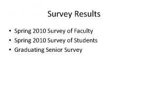 Survey Results Spring 2010 Survey of Faculty Spring