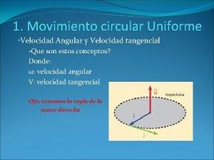 1 Movimiento circular Uniforme Velocidad Angular y Velocidad