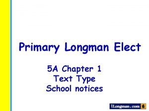Primary Longman Elect 5 A Chapter 1 Text