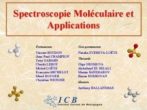 Spectroscopie Molculaire et Applications Permanents Nonpermanents Vincent BOUDON