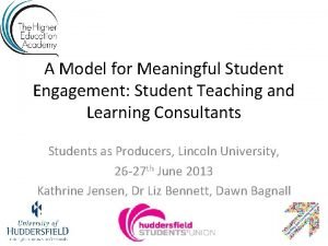 A Model for Meaningful Student Engagement Student Teaching