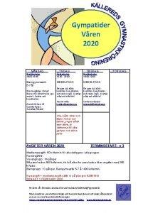 Gympatider Vren 2020 MNDAG Brattsskolan 18 00 18