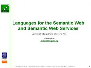 Languages for the Semantic Web and Semantic Web