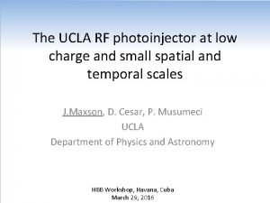 The UCLA RF photoinjector at low charge and