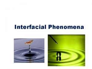 Interfacial Phenomena Interfacial Phenomena When phases exist together