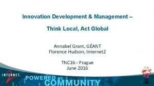 Innovation Development Management Think Local Act Global Annabel