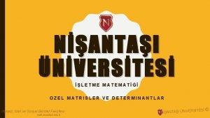 NANTAI NVERSTES LETME MATEMAT OZEL MATRISLER VE DETERMINANTLAR