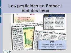 Les pesticides en France tat des lieux Dfinition