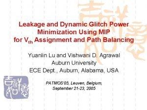 Leakage and Dynamic Glitch Power Minimization Using MIP