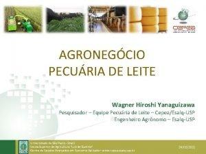 AGRONEGCIO PECURIA DE LEITE Wagner Hiroshi Yanaguizawa Pesquisador
