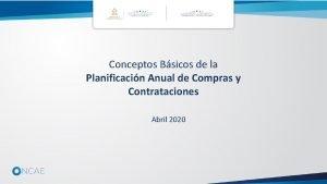 Conceptos Bsicos de la Planificacin Anual de Compras