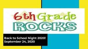Back to School Night 2020 September 24 2020