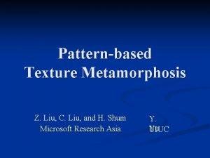 Patternbased Texture Metamorphosis Z Liu C Liu and