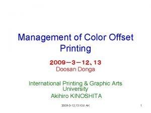 Management of Color Offset Printing Doosan Donga International
