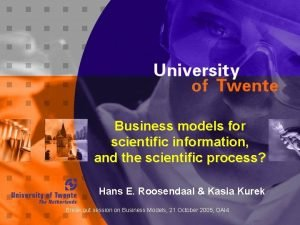 Business models for scientific information and the scientific