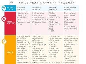 AGILE TEAM MATURITY ROADMAP MATURITY STAGE RADAR SYMPTOMS