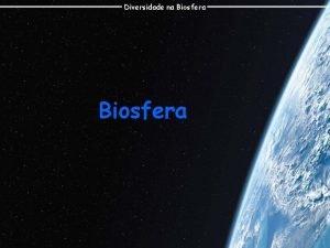 Diversidade na Biosfera Diversidade na Biosfera Camada superficial