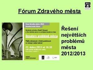 Frum Zdravho msta een nejvtch problm msta 20122013