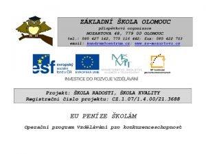 EU PENZE KOLM Operan program Vzdlvn pro konkurenceschopnost