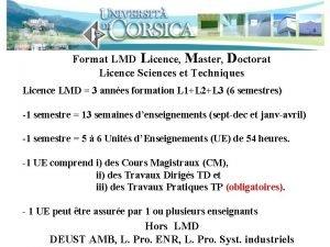 Format LMD Licence Master Doctorat Licence Sciences et