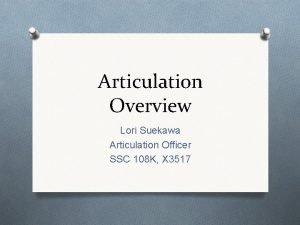 Articulation Overview Lori Suekawa Articulation Officer SSC 108