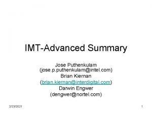 IMTAdvanced Summary Jose Puthenkulam jose p puthenkulamintel com