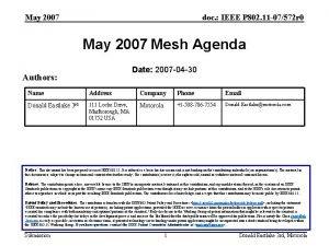 May 2007 doc IEEE P 802 11 07572