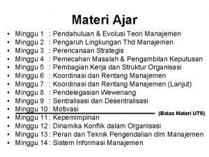 Materi Ajar Minggu 1 Pendahuluan Evolusi Teori Manajemen
