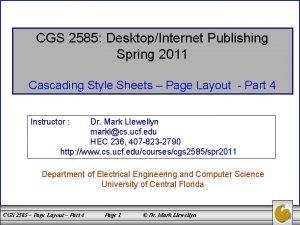 CGS 2585 DesktopInternet Publishing Spring 2011 Cascading Style