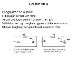 Peukur Arus Pengukuran arus listrik dilakukan dengan Am