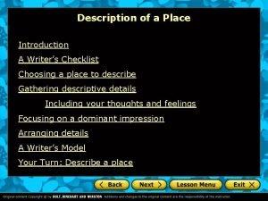 Description of a Place Introduction A Writers Checklist