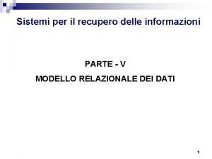 Sistemi per il recupero delle informazioni PARTE V