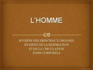 LHOMME HYGIENE DES PRINCIPAUX ORGANES HYGIENE DE LA