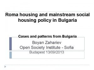 Roma housing and mainstream social housing policy in
