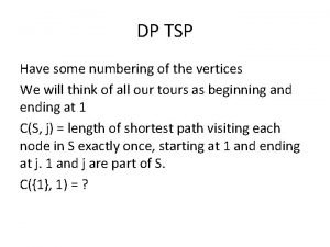 DP TSP Have some numbering of the vertices
