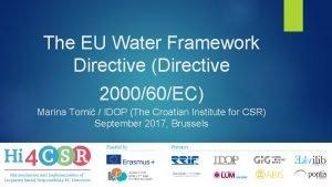 The EU Water Framework Directive Directive 200060EC Marina